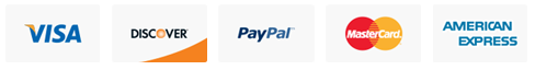 Supported payment methods: Visa, Paypal, Discover, Mastercard, American Express, and Paysafe Card